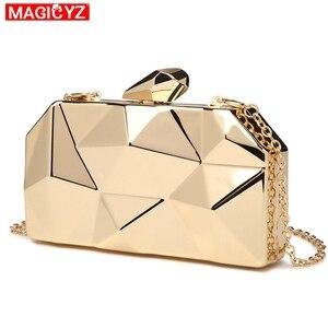 Image 2 - MAGICYZ sac à main pochette géométrique pour femme, boîte acrylique or, sac de soirée à chaîne pour soirée, à bandoulière pour mariage, rencontres ou fêtes