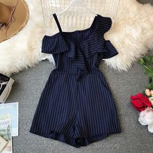 2019 Summer Ladies Ruffled Short Playsuit Irregular Off-shoulder High Waist Women Stylish Jumpsuits Striped Fashion Romper(China)