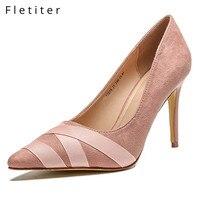 Fletiter Elegant Women Pumps High Heels Shoes Bandage Wedding Pumps Brand Design Pointed Toe High Heels Shoes Black Pink Size 33