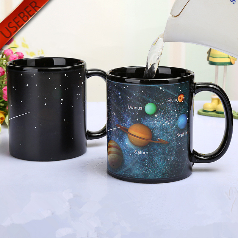 USEBER Cool Ceramic Solar System Change Color Mugs Heat Sensitive Color Changing Mugs Sublimation Coffee Tea Change Color<