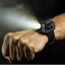 LED Wrist Watch Flashlight Torch Light XPE R2 USB Rechargeable Tactical Flashlight Lamp Lantern Easy Carry Black Color
