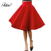 חצאית מטריית מותניים גבוהים Fetoo חדש מוצק אדום שחור באורך הברך חצאית קפלים כל משחק נשי כותנה שטח אופנה S-XL