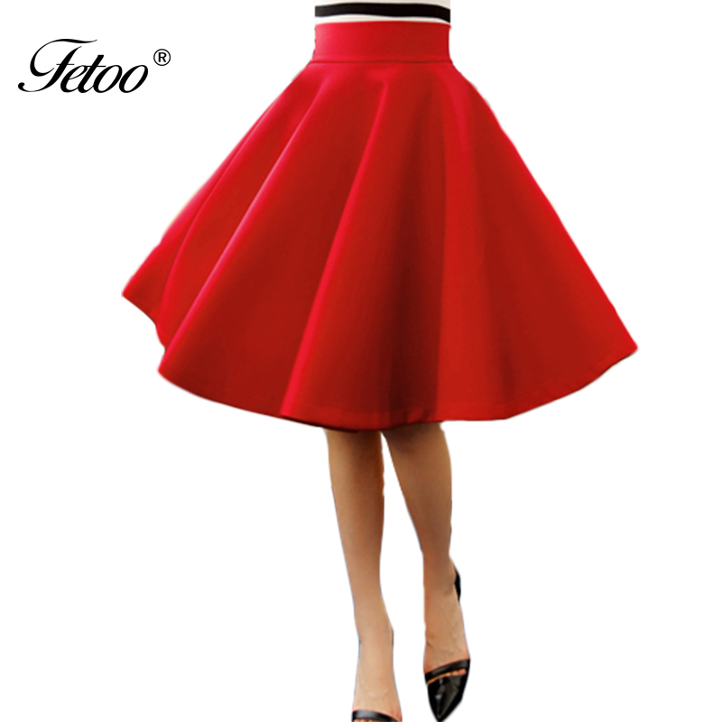 Fetoo New High Waist Umbrella Skirt Solid Red Black Knee Length Fashion Space Cotton Pleated Skirt for Female All-match S-XL