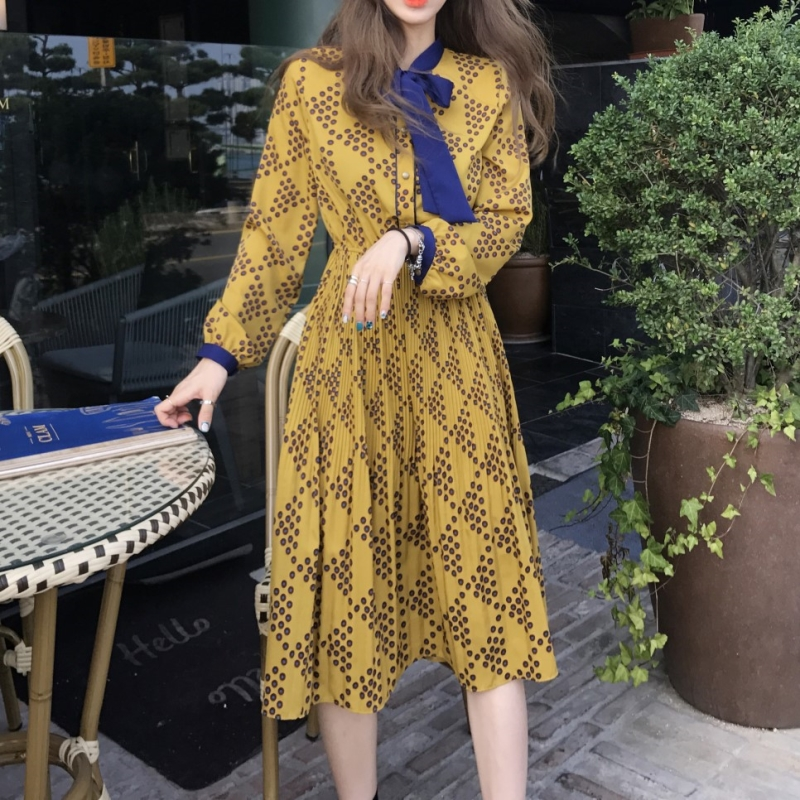 2018 Spring Women Dresses O-Neck Long Sleeves High Waist Long Dress Ladies Plus Size A Line Dot Print Desses With Bow Tie