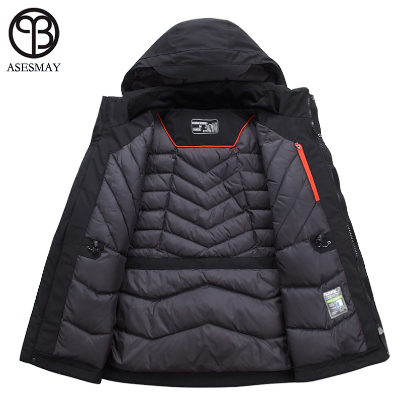 Asesmay 2019 Men Down Jacket Men's Winter Parka Thick Warm High Quality Hoodies White Duck Down Coat Mens Brand Clothing Outcoat