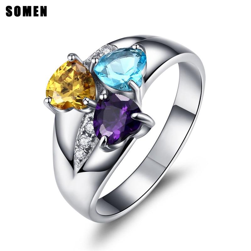 Somen Vintage Jewelry 925 Sterling Silver Luxury Ring Purple Blue Yellow Stone Women Wedding Rings Anels