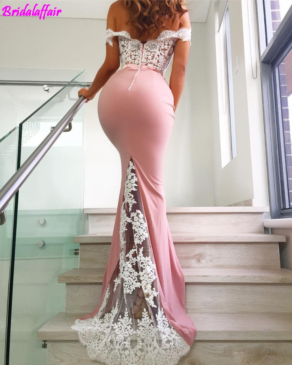 2019 Custom Made Party Dresses White Lace Top Pink Prom Dresses Mermaid Formal Dress Sexy Open Back Cheap Evening Gowns in Prom Dresses from Weddings Events