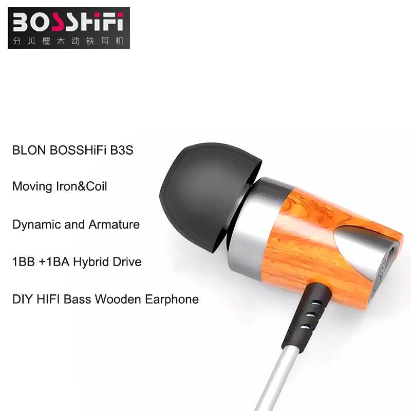 BOSSHiFi B3S Сабвуфер HiFi наушники 1DD+1БА гибридный драйвер в ухо деревянные наушники Посеребренные кабель для xiaomi/iPhone с