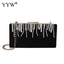 Women Black Evening Party Bags Clutches With Plastic Pearl Tassels Pleuche Clutch Purse Handbag Vintage Prom Party Wedding Bags цена и фото