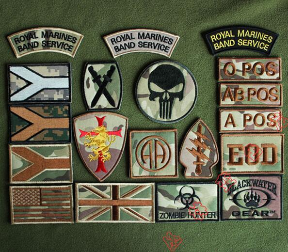 Camouflage Embroidery Tactical Patch Fabric Zombie Hunter Badge Hook