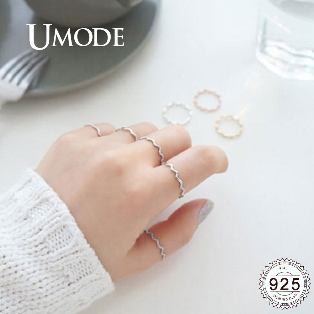 UMODE Bend Wave 925 Sterling Silver Rings Sets Party Fine Jewelry For Women Simple Fashion Korean Rings Accessories ULR0725