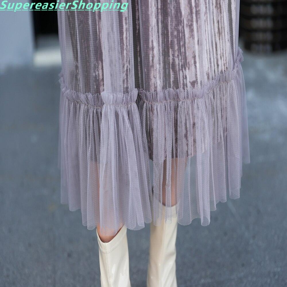 c0b1a3c9c4 10 unids lote larga de las mujeres falda plisada elástico de la cintura de  malla de 2 capas volante de oro velvet faldas para mujer 2016 tamaño libre  ...