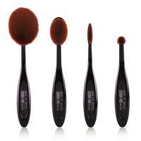 Make Up New Oval Face Eye Makeup Brush Black Rose Gold Soft Bristles 4 Pcs Set