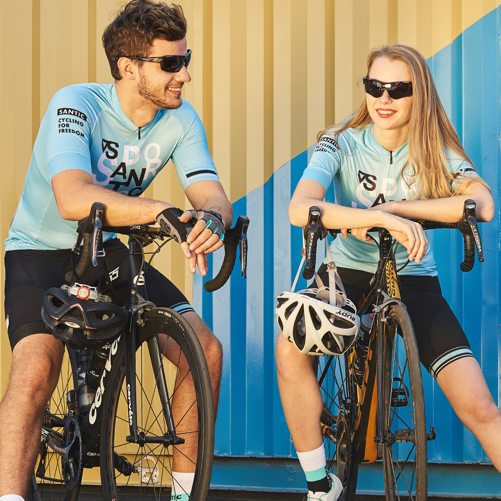 Santic Cycling Short Jersey Sleeve Race Fit Bike Jersey Shirt MTB Jerseys Cycling Team Shirt Couple
