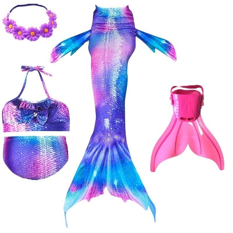 girls kids cosplay swimmable mermaid tails costumes swimming mermaid tail with monofin flipper bikini black for children