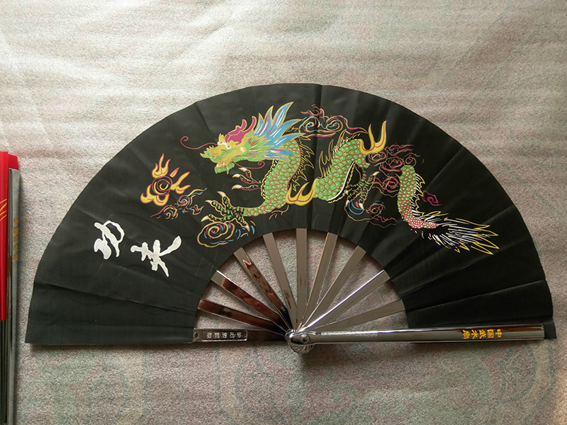 Premium Dragon Pattern Stainless Steel Martial Arts Fan 1