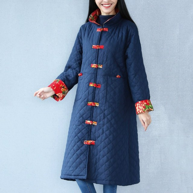 Mulheres Inverno Grossa de Algodão Quente Casaco de Grandes Dimensões Mulheres Casuais Casaco Feminino Casaco de Cor Azul Marinho E Vermelho