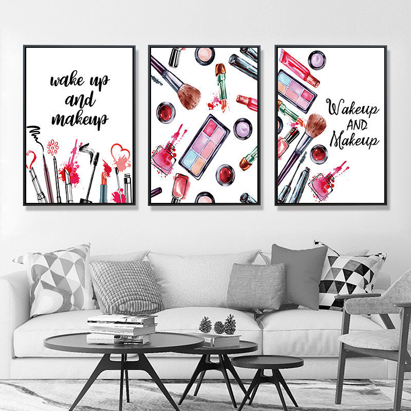 Makeup Fashion Wall Art Canvas Painting Prints Posters Wake Up Make Up Wall Picture Paintings For Home Decor No Frame PD2603 in Painting Calligraphy from Home Garden