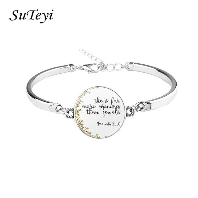 Suteyi Bible Verse Christian Silver Bracelet Glass Cabochon Pattern Bangle  Jewelry Women Men Gifts Trendy Pray Without Ceasing