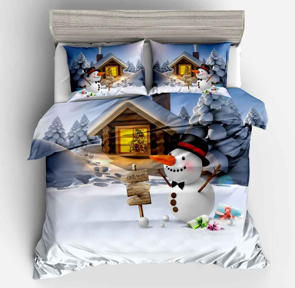 3D Bedding set Twin Full Queen size bed Duvet cover set Gift for girls and Boy Christmas Snowman