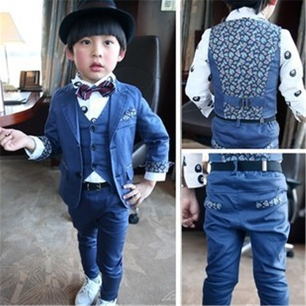 a8b246eb3adb Korean Children Clothing 2015 New Autumn Kids Boys Blazer + Vest + Pant Suit  Set Formal Floral Prince Gentleman Dresses 3pcs