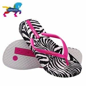 Image 3 - Hotmarzz Frauen Zebra Druck Flip Flops Strand Hausschuhe Sommer Sandalen Slides Slip Auf Flache Sandalen
