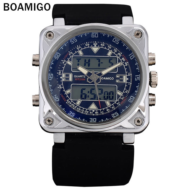 BOAMIGO Men's Fashion Sports Dual Display Watches Rubber Band 2016 New Man Quartz Wristwatches 30M Waterproof reloj hombre