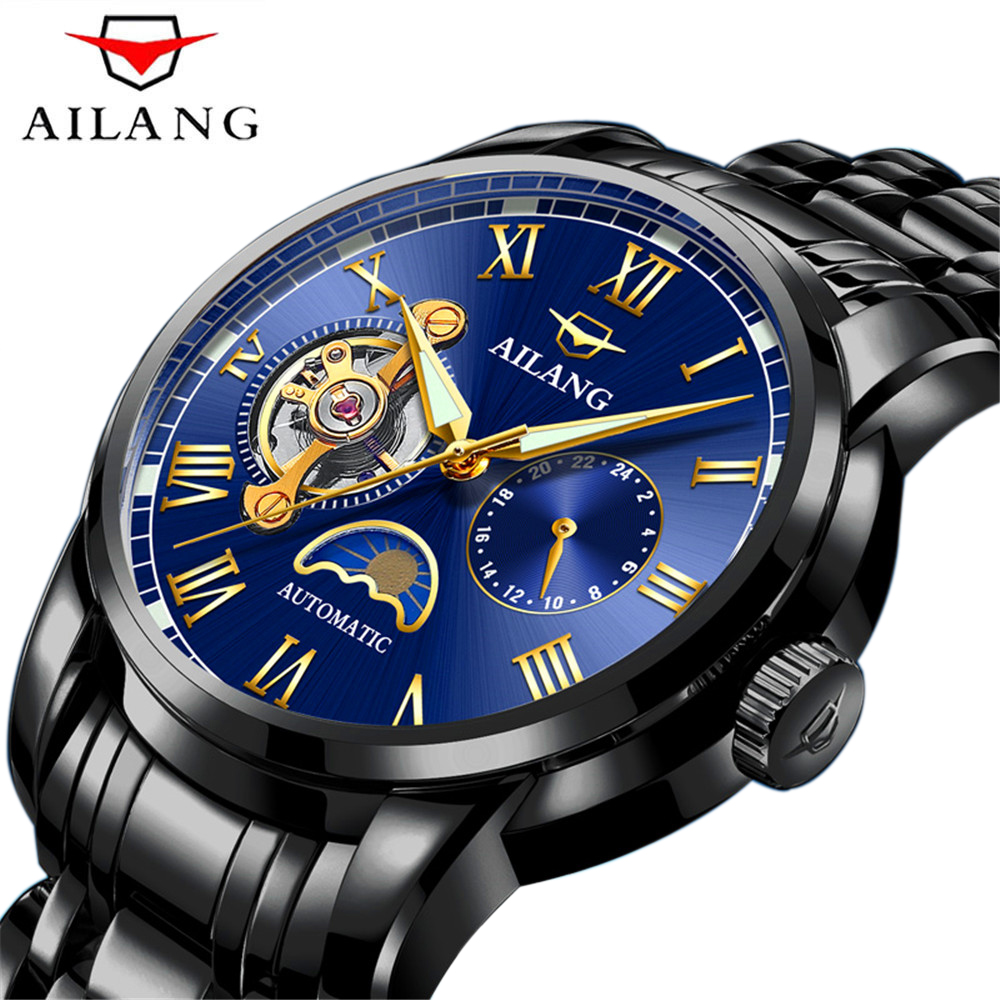 AILANG Casual Watch Tourbillion Display Self-winding Watch Men Moon Phase Feature Black Stainless Steel Strap Mechanical Watches ysdx 398 fashion stainless steel self stirring mug black silver 2 x aaa