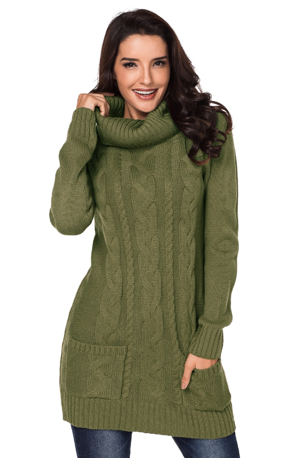 Olive-Cowl-Neck-Cable-Knit-Sweater-Dress-LC27836-9-5