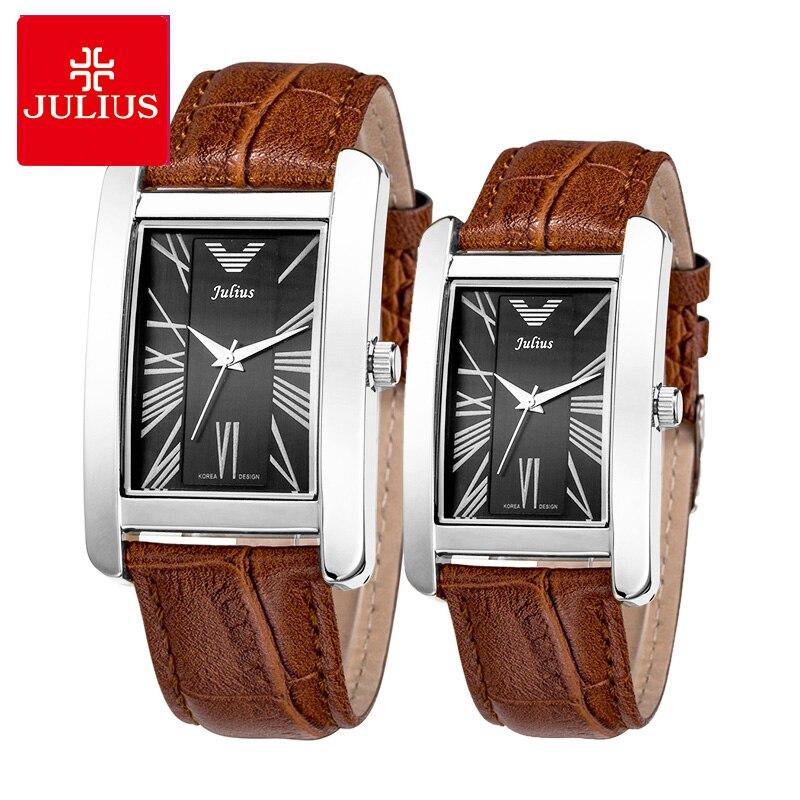 Top Julius Men's Women's Watch Japan Quartz Elegant Simple Fashion Man Hours Woman Couple Clock Leather Lovers' Birthday Gift