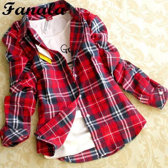Women Long Sleeve Plaid Blouse Button Cotton Casual Lapel Shirt Plaids Checks Flannel Shirt Top 5 Colors M~XXL