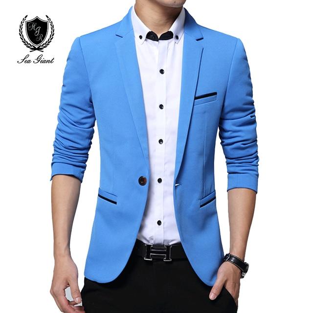 Nueva chaqueta de marca de moda para hombre Blazer casual Slim Fit Chaqueta  Hombre blazers abrigo c91f593624b