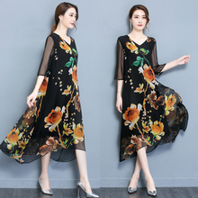 Spring and summer new style Loose mid-sleeve printed dress Temperament elegant ethnic loose