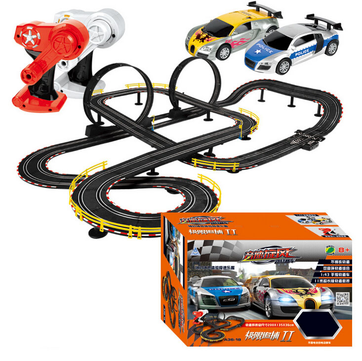Hot Selling Cool 2pc RC Cars With Slot Track Assemble Toy Electric Flash Racing Car For Boys Gift