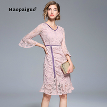 S-2XL Plus Size Pink Trumpet Lace Dress Women V-neck Three Quarter Casual Wrap Ropa Mujer Verano 2018 Autumn