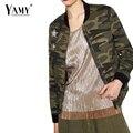 Primavera 2017 camouflag bordado chaqueta de bombardero mujeres básica abrigos de béisbol militar outwear jaquetas plus size
