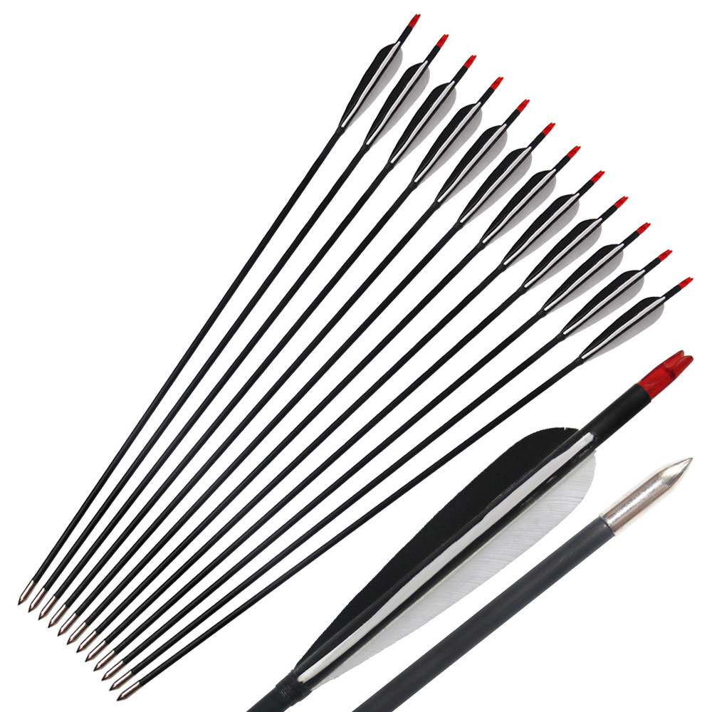 12Pcs Turkey Feather 31inch Mixed Carbon Arrows for Archery Recurve Bow Hunting ...