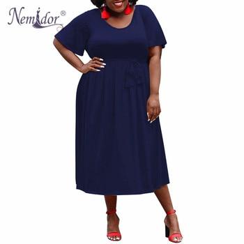 Nemidor Women Solid Short Sleeve Casual A-line Dress Vintage O-neck Plus Size 8XL 9XL Party Mid-calf Swing Dress