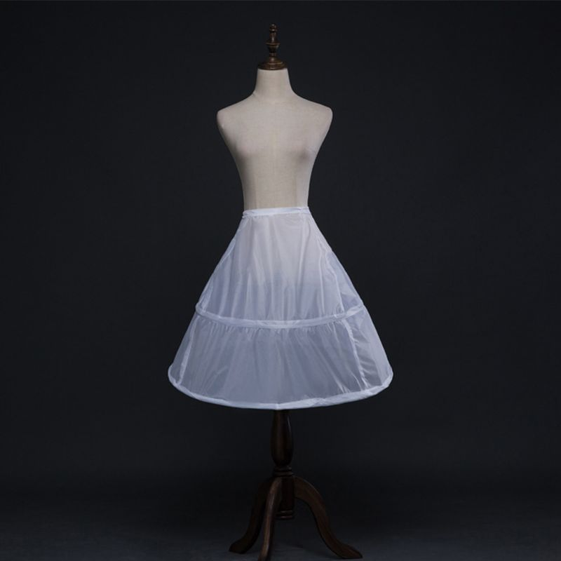 Flower Girls 2 Hoops White Underskirt 65cm Wedding Petticoat Kids Elastic Waist Drawstring One Layer Crinoline Half Slip