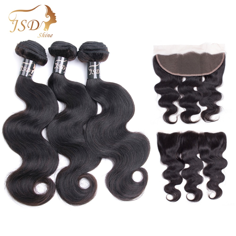Indian Body Wave Bundles With Frontal Closure Lace Frontal Closure With Bundles 3 Bundles With Closure JSDShine Non Remy