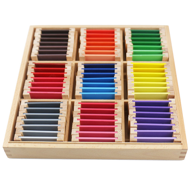 Montessori Educational Wooden Toys Montessori Materials Sensorial 27 Colors Recognition Wooden Toys For Children UB0666H