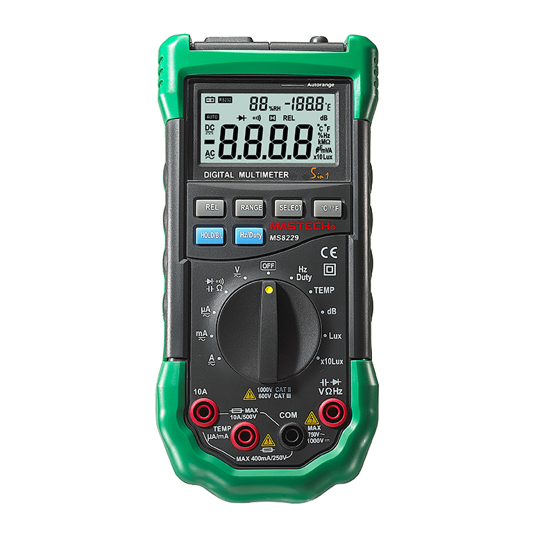 Mastech MS8229 Auto-Range 5-in-1 Multi-functional Digital Multimeter with DMM, Lux,Humidity,Sound Level,Thermometer 1 pcs mastech ms8269 digital auto ranging multimeter dmm test capacitance frequency worldwide store