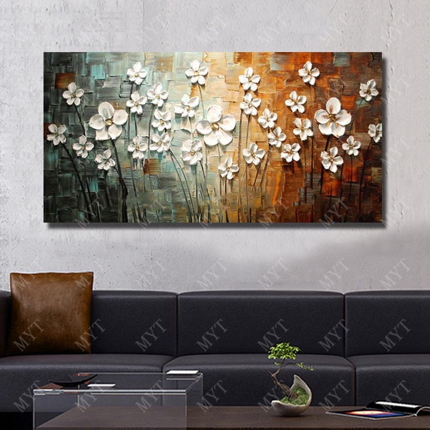 modern living room wall art pictures of beautiful rooms well furnished chinese decor flower painting large canvas hand painted no framed in calligraphy from home