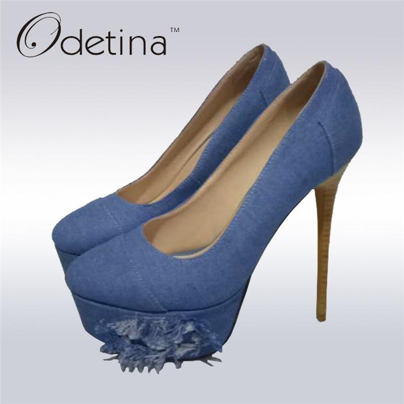 Odetina 2017 new fashion denim pumps women sexy platform high heels 16 cm blue stiletto heels night club party shoes big size 45 classic fashion women s club banquet wedding shoes sexy suede zipper 17 cm in stiletto heels