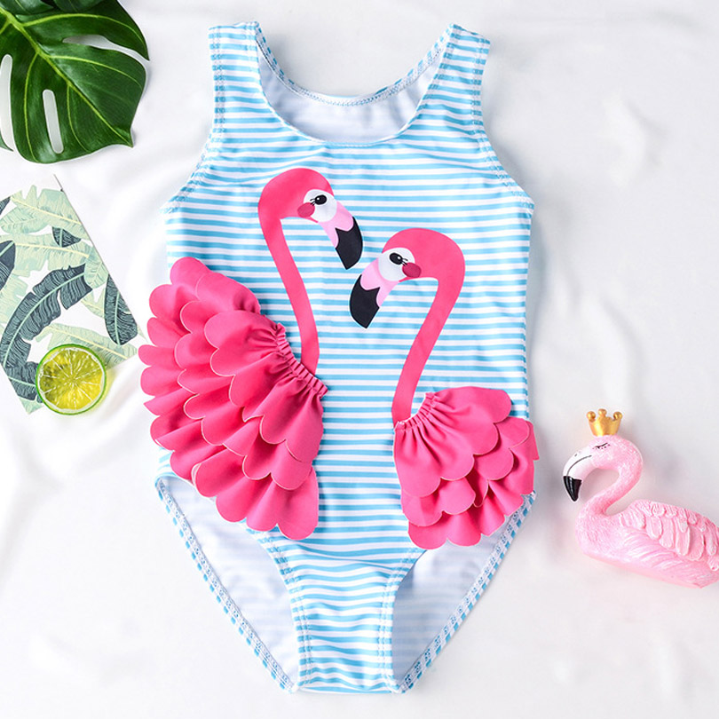 New Girls Swimwear Cute Kids Swimsuit Swimming Swan Flamingo 2019 Baby Girl Bathing Suit One Pieces Swim Wear For Children(China)