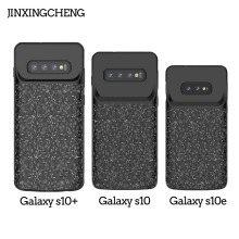 JINXINGCHENG Silicone Frame Charger Battery Case for Samsung Galaxy S10+ S10 S10e 4700mah Back Clip Fast Cover