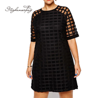 Women Plus Size Checkered Pattern O Neck Sheer Mesh Shirt Dress Shift Dress OL Vintage Party Big Size Dress 5XL 6XL