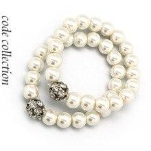 Vintage elegante pulsera de perlas fuerza elástica para mujer chica cristal cuentas pulsera boda novia joyería Accesorios