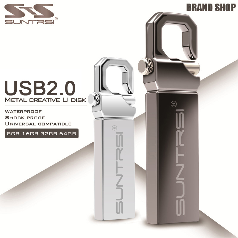 Suntrsi USB Flash Drive 16GB 32GB High Speed USB 2.0 Metal Flash Drive Real Capacity 64GB Pendrive USB Memory Stick Free Ship kingston pendrive 64gb usb 3 1 high speed 16g usb flash drive 128gb 64gb 32gb 16gb 8gb real capacity 32g pendrive usb stick 128g