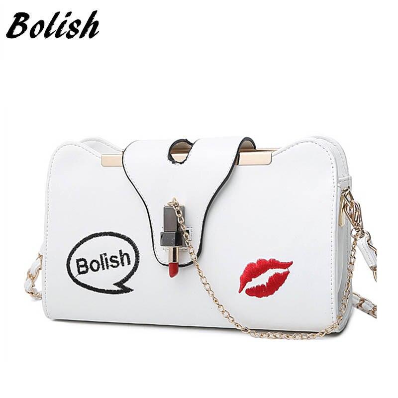 Bolish Brand New Korean Embroidery Lock Small Lipstick Simple Shoulder Bag Chain Strap Messenger Bag Fashion Women Bag